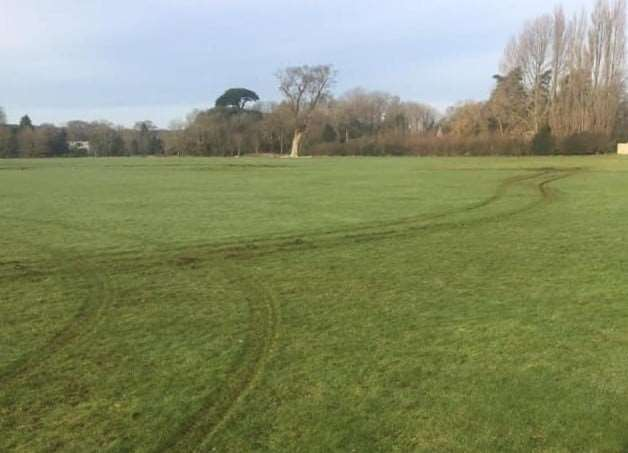 Burton Youth Football Club's main full-size pitch was the most damages (Photo: Burton Youth Football Club)