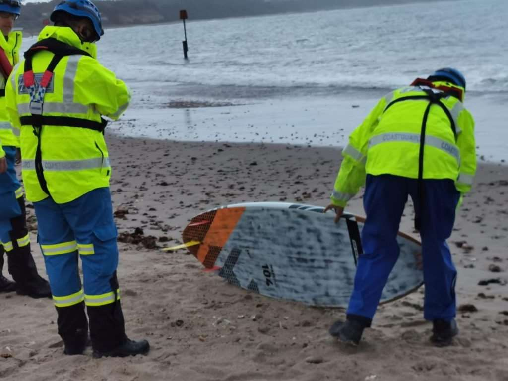 This board was found on Mudeford beach, sparking a search (picture: Southbourne Coastguard)