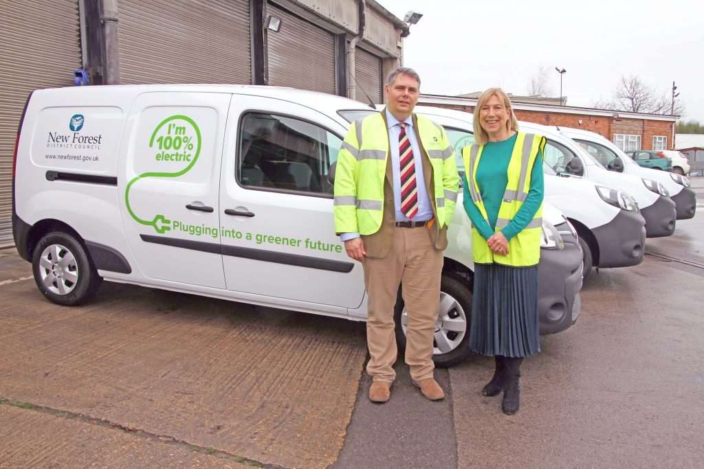 Cllrs Edward Heron and Alison Hoare with the new vehicles