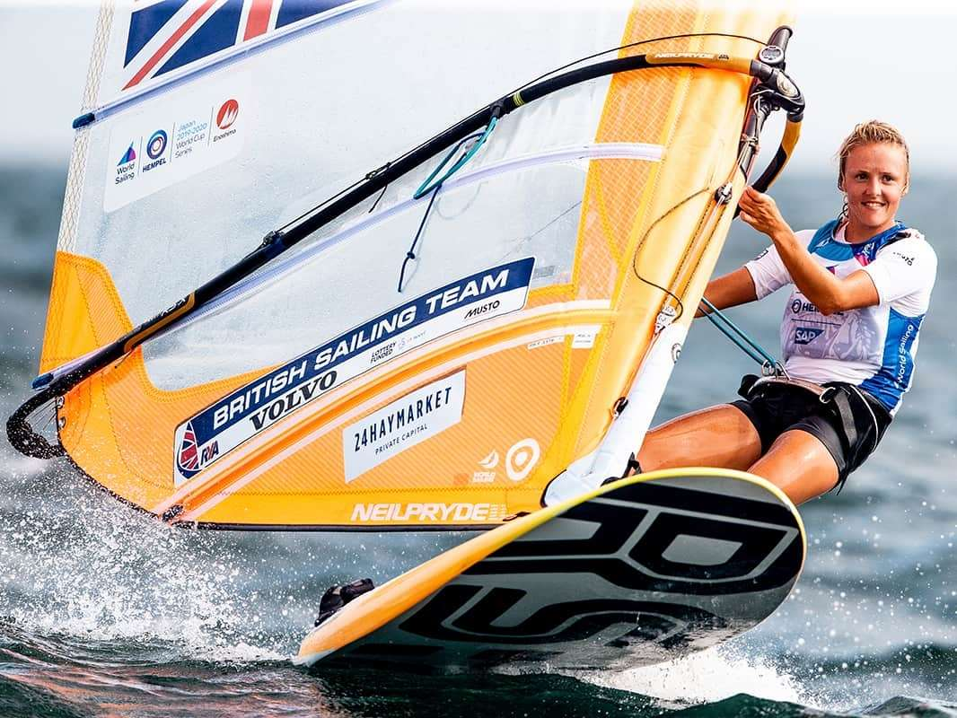 Emma Wilson in action for Team GB in the RS:X World Cup in Enoshima, Japan (Photo: Sailing Energy)