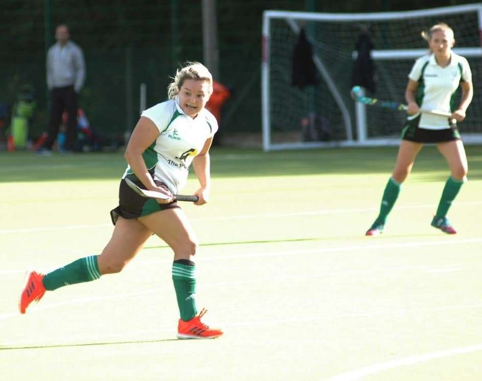 Jade Lock (left) claimed four goals for New Forest Hockey in their 8-0 rout over Bournemouth III (Photo: Dee Flanagan)