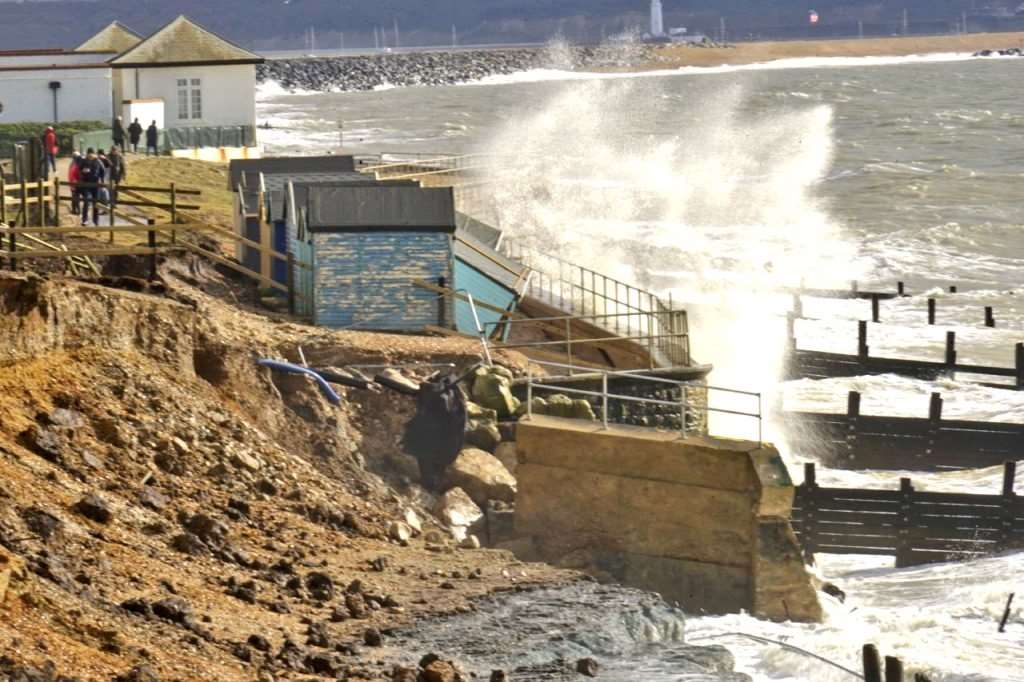 Waves from recent storms have damaged the seawall at Milford