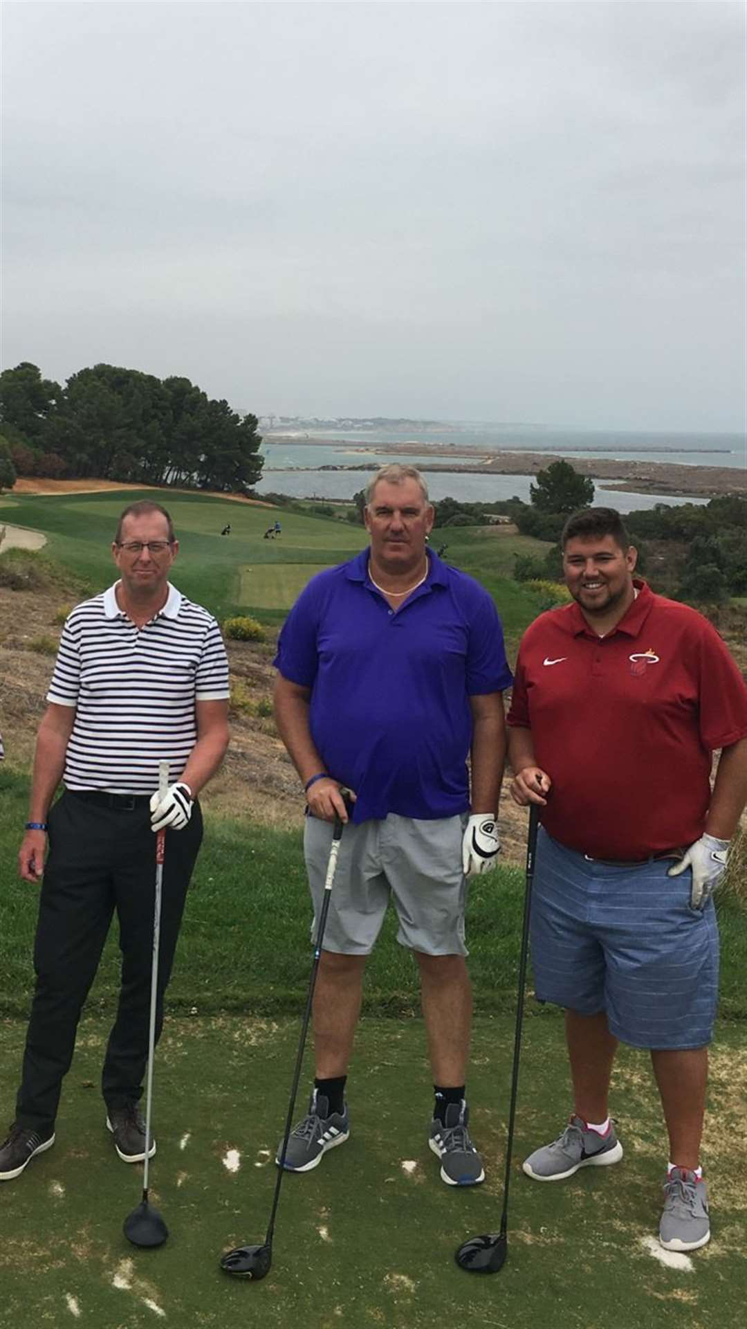 Adam, Les and Callum will take part in the Great Golf Race