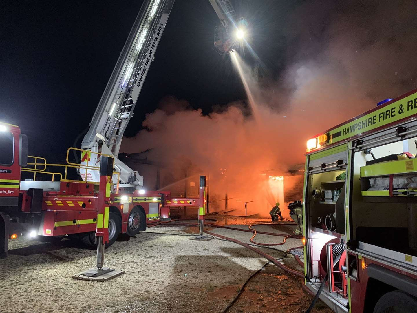 Fire crews spent the night tackling the blaze (Photo: Hampshire & Isle of Wight Fire and Rescue Service)