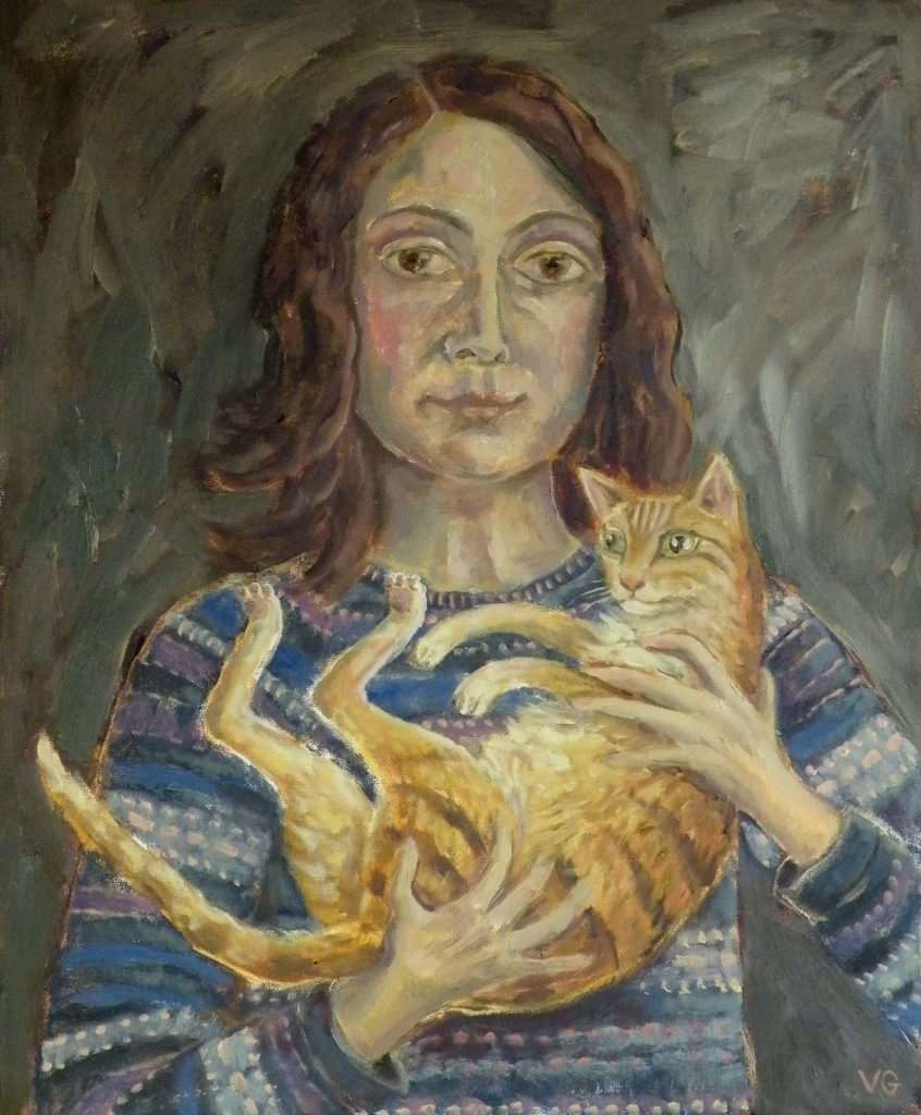 Vicky's work, Portrait with Ginger Cat
