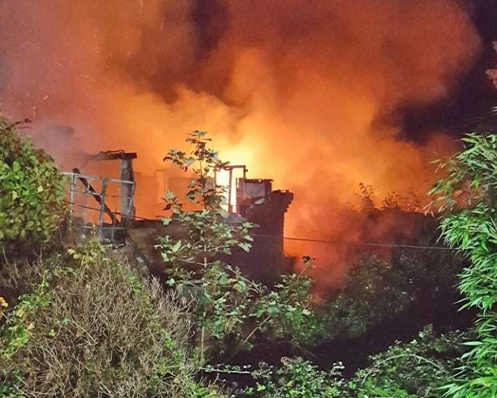 Thirty firefighters battled the flames in Salisbury Road, Burton (Photo: Dorset and Wiltshire Fire and Rescue Service)