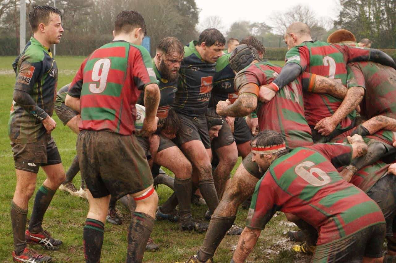 The New Milton RFC pack preparing for a scrum in their game against Millbrook in the Hampshire Premier division Photo: David Corbett