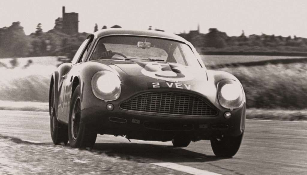 The original DB4 GT Zagato racing in the 1960s at Goodwood where it was last year sold for a record £10.1m at Bonhams auction
