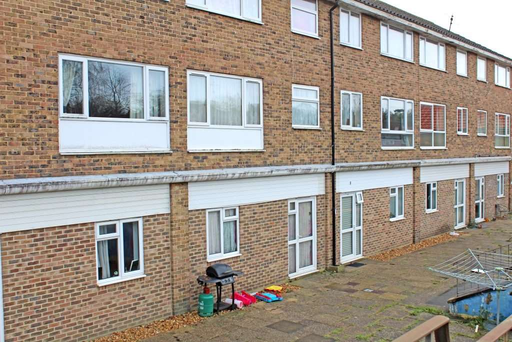 The flats in Knightwood Road, Hythe, where the baby was discovered 'seriously unwell'
