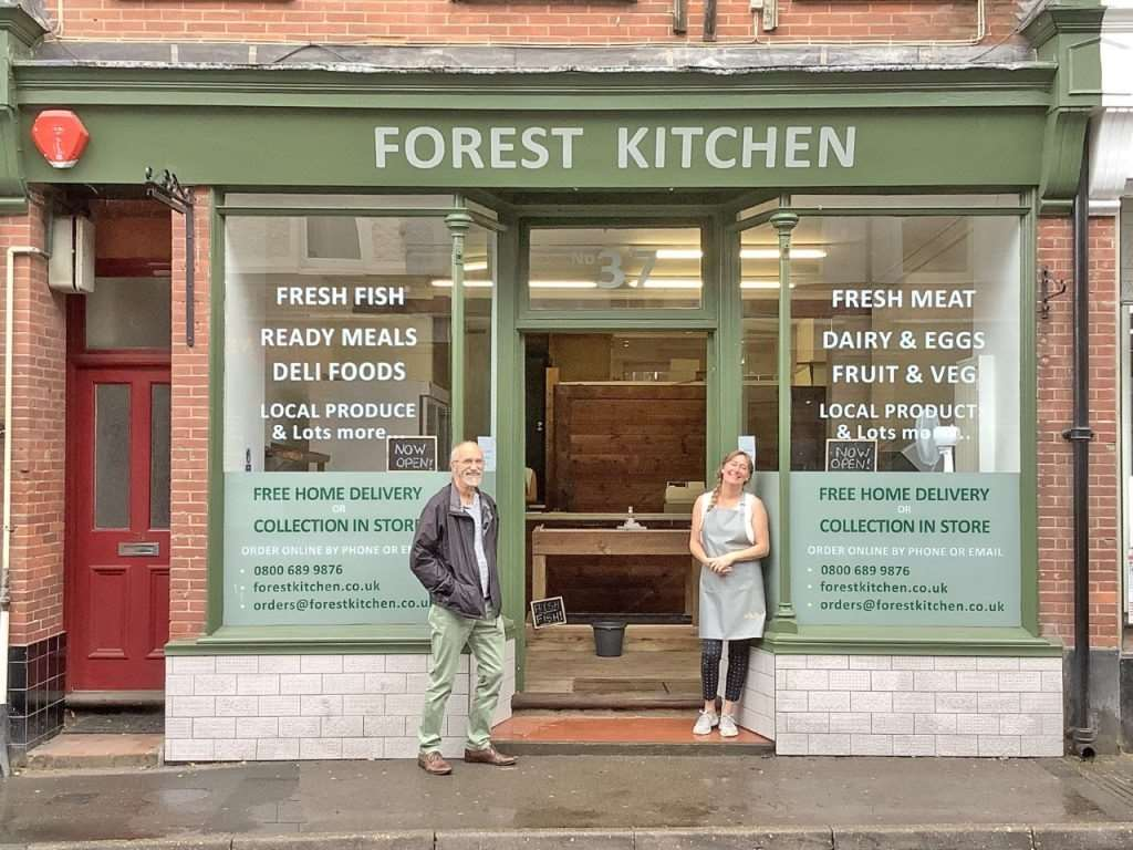 Forest Kitchen owner Sheila Cockwell with Brockenhurst Parish Council chair Cllr Pete Wales