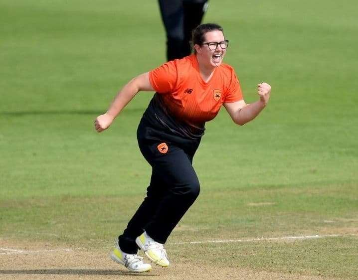 Charlotte Taylor celebrates a wicket for Southern Vipers