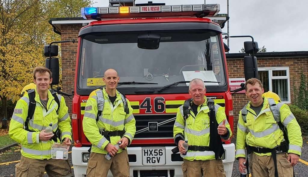Firefighters Paul Dorrington, Lee Dorrington, Matt O'Hare and Colin Reeves ran around all 11 New Forest fire stations for charity