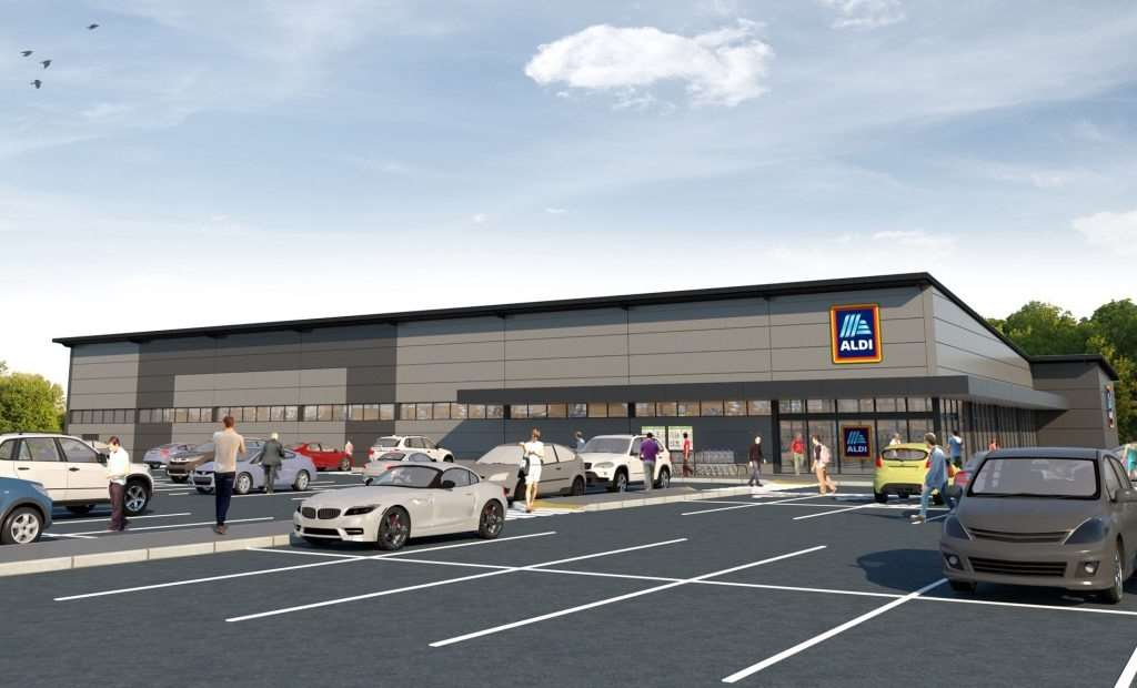 A CGI of the proposals for the new Aldi on Caird Avenue
