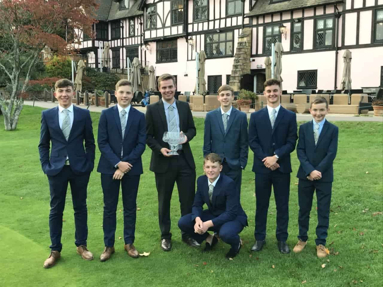 The winning Bramshaw Golf Club junior golf team: (Back row l-r) team captain Joe Buenfeld, Elliot Thomas, 2019 junior captain Ciaran Simpkin, Ryan Archer, Danny Coombs, Jake Barney and (front) Billy Lightfoot