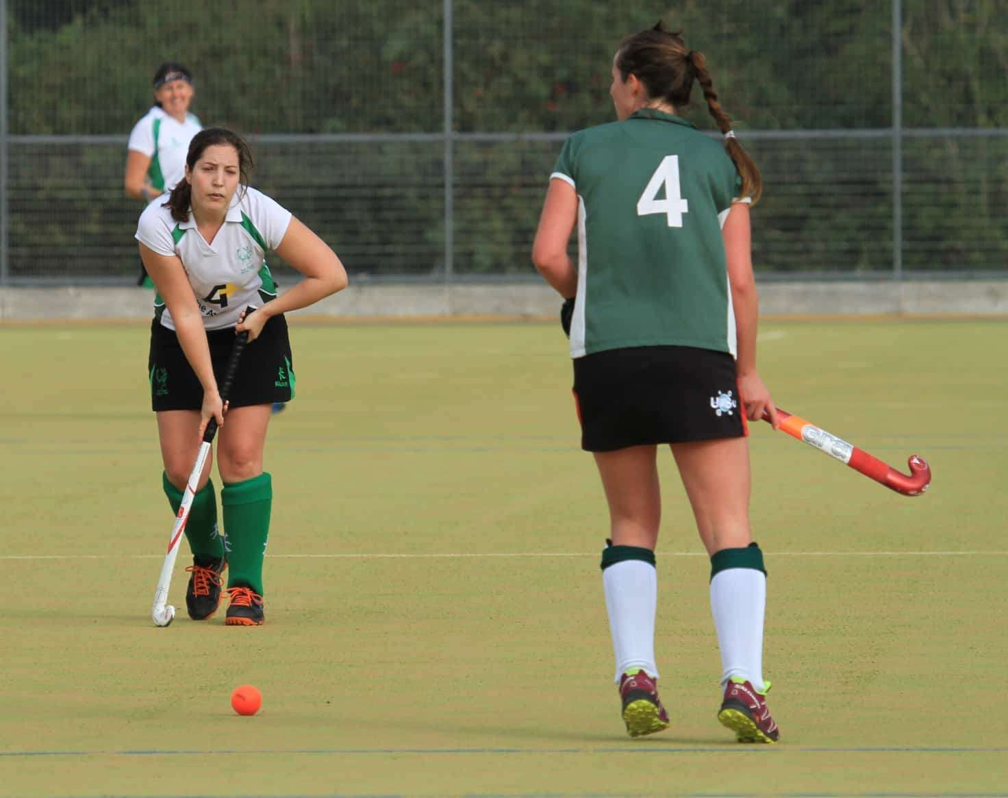 Lauren Gavin (left) scored four times for New Forest Hockey as they saw off Havant II 10-0