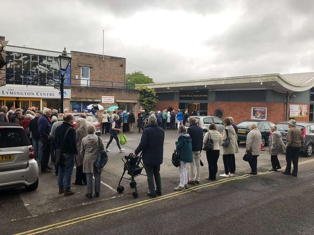 The queue for the meeting last year at the Lymington Centre went out the door