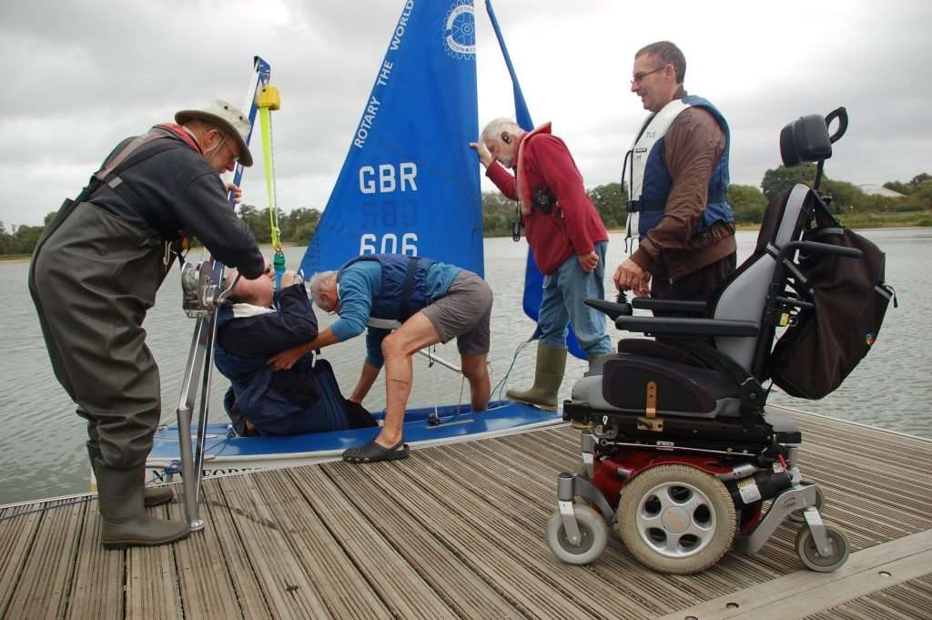 Trained volunteers have hoists to help disabled sailors get afloat